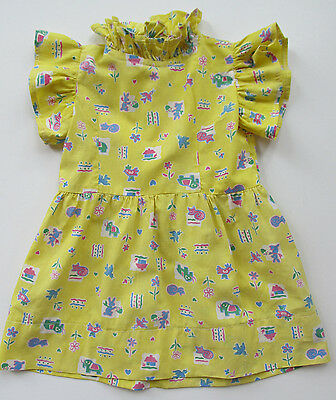 "Vintage 1930's Childs, Girls or Dolls Dress, 16"" Long, Novelty Fabric, Handmade"