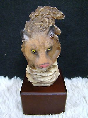 Polyresin Pouncing Cougar Edgy Figurine with Matte Square Wood Base, Collectible