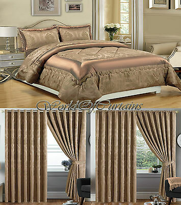 Jacquard,Luxury 3 Piece (Caramel) Comforter Set,Bedspread with matching Curtains