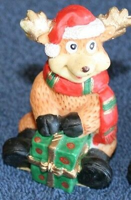 "Russ Reindeer with Green Package 3"" tall Handcrafted Ornament NEW!"