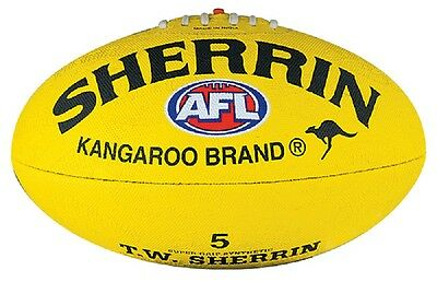 Afl Sherrin Yellow Synthetic Full Size Football - Brand New
