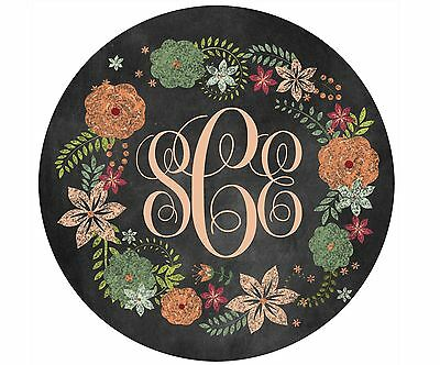 Mouse Pad Custom Personalized Thick Mousepad-Chalkboard Wreath With Monogram