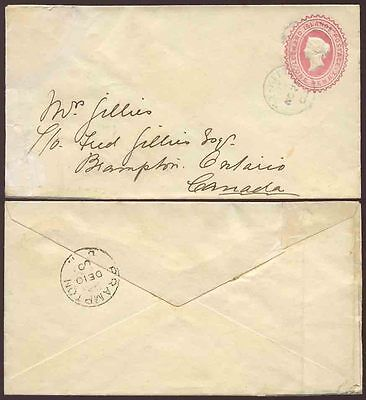 LEEWARD ISLANDS ST KITTS QUEEN VICTORIA STATIONERY ENVELOPE to CANADA