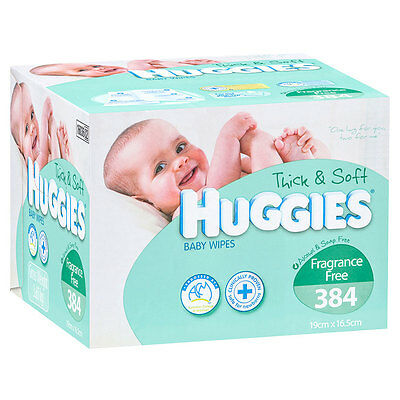 Huggies Baby Wipes Unscented 384 Pack - NEW