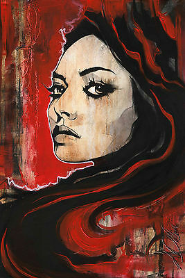 """Non Nude Fine Art Abstract CANVAS Painting ORIGINAL Portrait By L Dolan 16x24"""""""
