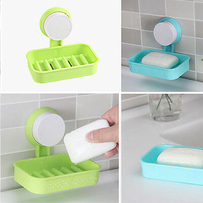 1pc Plastic Bathroom Shower Strong Suction AUp Soap Dish Tray Wall Holder AU