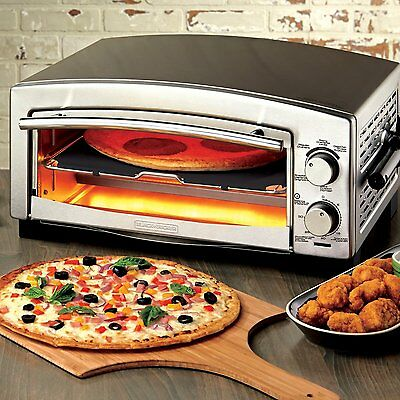 NEW! Black + Decker P300S 5-Minute Pizza Oven and Snack Maker, Silver
