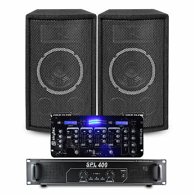 """Skytec SL6 6 Inch DJ Party Speakers SPL400 Amplifier 19"""" Mixer Cables 300W Max"""