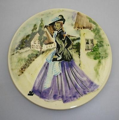 Large Martin Boyd Handpainted Pin Dish Depicting A Lady In Period Costume.