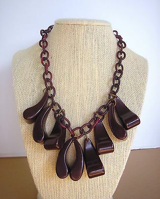 "Vintage 17"" Cherry Amber Bakelite Celluloid Chain Necklace 55 grams"