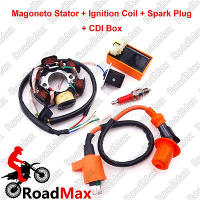 Magneto Stator Racing Ignition Coil CDI Spark Plug For GY6 49cc 50cc ATV Scooter