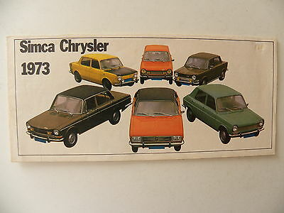Catalogue / brochure SIMCA CHRYSLER gamme 1973