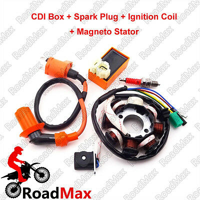 Ignition Coil AC CDI Spark Plug Magneto Stator Moped Scooter For GY6 125cc 150cc
