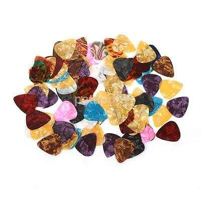 100x Color Random Acoustic Bulk Celluloid Electric Smooth Guitar Pick Plectrum S