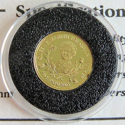 GUERNSEY 1995 QUEEN MOTHER 95th BIRTHDAY £5 24 CARAT GOLD PROOF - coa