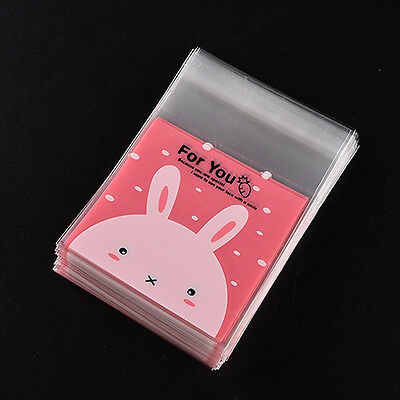 100Pcs Rabbit Self Adhesive Cookie Candy Gift Cellophane Package Bags Eager