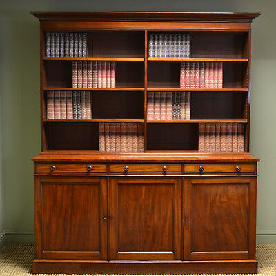 Quality Large Regency Mahogany Library Antique Open Bookcase on Cupboard