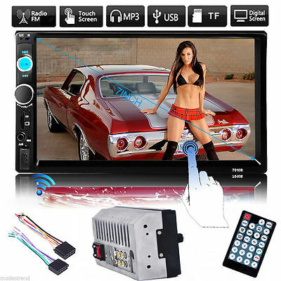 "Double 2DIN 7""HD Car Stereo CD DVD Player USB SD Bluetooth IPOD FM Radio In Dash"