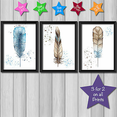SET of 3 Watercolor bbr FEATHERS Decor Wall Art Picture Print Poster in 5 sizes