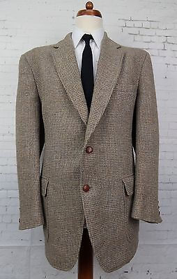 Vintage 1970s Light Brown Leather Button Harris Tweed Jacket -48- BZ70