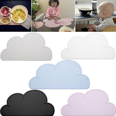 Waterproof Silicone Cloud Shaped Kids Plate Mat Table Mat Set Home Kitchen