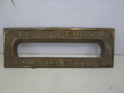 "Vintage Brass Door Slot for ""Newspapers & Printed Matter"""
