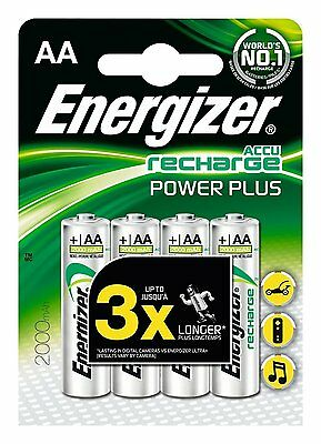 4x Energizer Power Plus AA Rechargeable Batteries 2000mAh NiMH