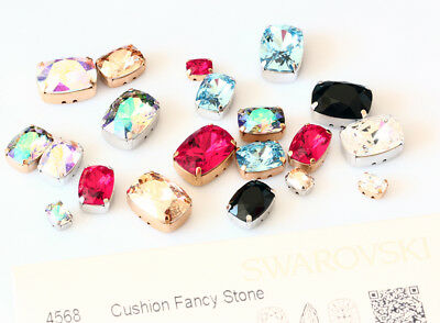 Genuine SWAROVSKI 4568 Cushion Crystals with Sew On Metal Settings * Many Colors