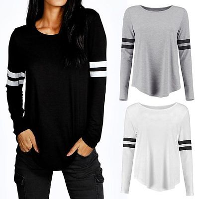 Fashion Womens Long Sleeve Shirt Casual Loose Cotton Tops T Shirt New Blouse ES