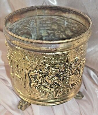 Vintage Planter RELIEF COLONIAL PUB SCENE England Brass Tri Foot