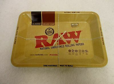 "RAW ""MINI"" TRAY Rolling Papers Vintage Style METAL Cigarette Rolling Tray 7""x5"""