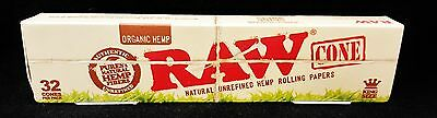 1 Box Raw Organic Hemp Natural King Size Pre-Rolled Rolling Paper Cones 32 Per