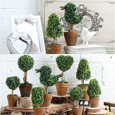 Artificial Potted Plant Plastic Garden Grass Ball Topiary Tree Pot Home Desk Dec