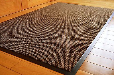 HEAVY DUTY BARRIER MAT NON SLIP RUBBER BACK DOOR HALL RUGS 60X90 Brown/Black
