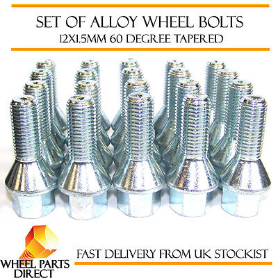 Alloy Wheel Bolts (20) 12x1.5 Nuts Tapered for Mercedes 190 [W201] 82-93