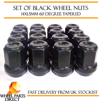 Alloy Wheel Nuts Black (16) 14x1.5 Bolts for Land Rover Discovery [Mk2] 98-04