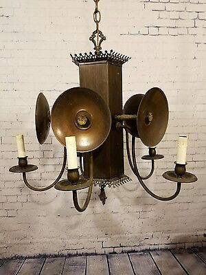 Gothic Medieval Tudor 5 Sconce Chandelier Hanging Light Fixture FREE SHIP Works!