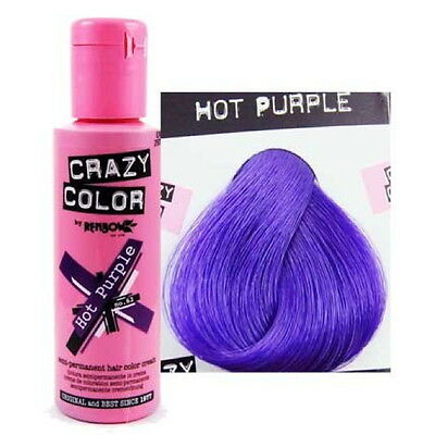 Crazy Colour Hot Purple Semi Permanent Hair Dye 100 Ml