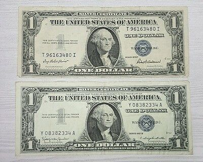 (2) Old 1935 & 1957 $1 Silver Certificates  - 2 Note Paper Money Lot