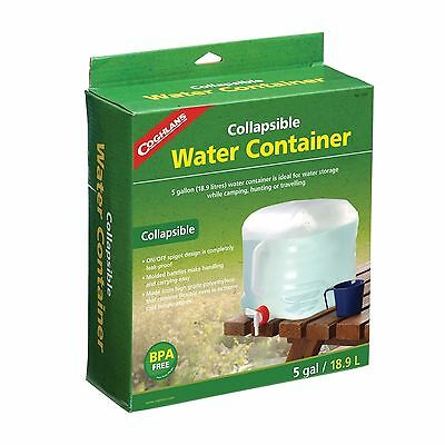 Coghlans 5 gl gallon 19 liter collapsible water jug carrier camping fold up 1205