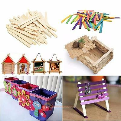 50Pcs Wooden Popsicle Stick Kids Ice Cream Lolly DIY Making Funny 11.4x1x0.2cm