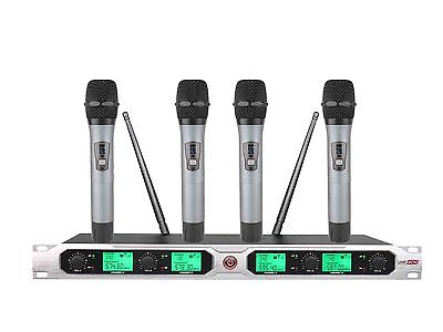 4-Channel UHF Four Handheld Wireless Microphone Mic System