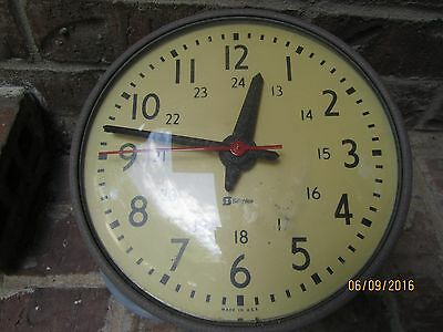 Vintage Simplex Industrial Electric Wall Clock Glass Face w/ Military Time