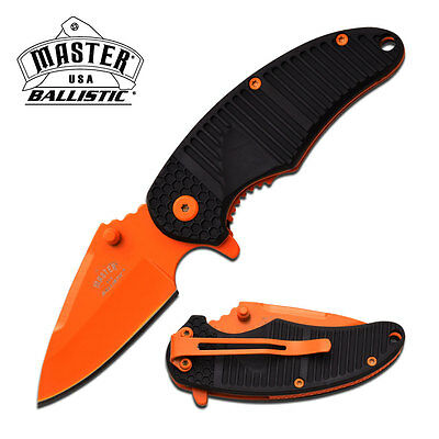 Master Usa Pocket Knife Spring Assist Rubber Handle Colored Blade Mu-A019Or