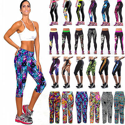 Women 3D Printed Fitness Yoga Gym Pants Running Sports Cropped Leggings Bottoms