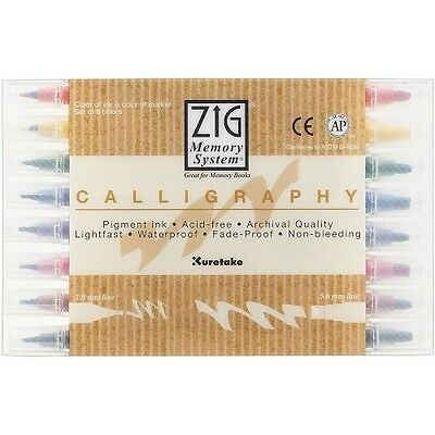 Zig - Memory System Calligraphy Markers, Multicolor, 8Pack