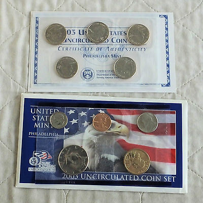 USA 2003 10 COIN UNCIRCULATED PHILADELPHIA MINT SET - 2 sealed packs - complete
