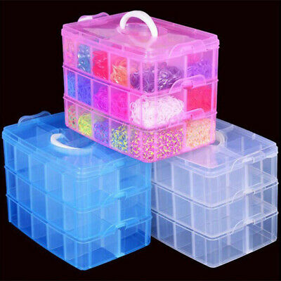 Clear Plastic Jewelry Bead Storage Box Container Organizer 3-Layers Case Craft