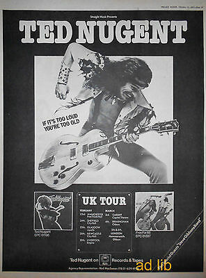 "TED NUGENT - UK TOUR FEB.-MARCH 77, BRITISH 16"" x 12"" ADVERT/AD 1977"