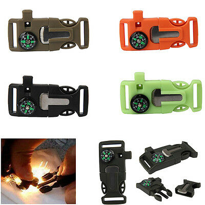 HOT Side Compass Whistle Buckle Flint Fire Starter Scaper For Paracord Bracelet